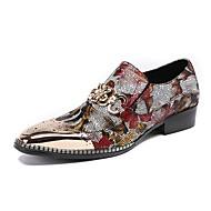 זול נעלי גברים-בגדי ריקוד גברים נעליים עור אביב סתיו חדשני נעליים ללא שרוכים ל חתונה מסיבה וערב אדום