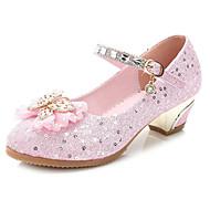 billige Sko til blomsterpiger-Pige Sko PU Forår Efterår Tiny Heels for teenagere Sko til blomsterpiger Hæle for Afslappet Lys pink