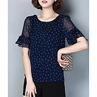 Dame - Prikker Chiffon / Trykt mønster Vintage I-byen-tøj Plusstørrelser Bluse / Drapering