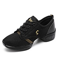 baratos Sapatilhas de Dança-Mulheres Tênis de Dança Arrastão Têni Recortes Sem Salto Personalizável Sapatos de Dança Branco / Preto / Espetáculo