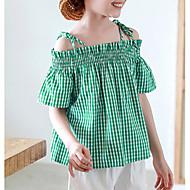 Niños Chica Houndstooth Manga Corta Nailon Camiseta Verde Trébol / Bonito
