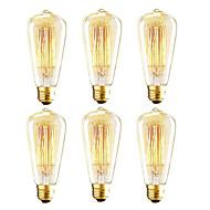 billige Glødelampe-6 stk vintage edison pære, 40w st64 glødelampe glass, amber varm, 2200k, e26 / e27 medium base antikk glødelampe lampe