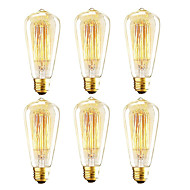 baratos Incandescente-OYLYW 6pcs 40W E26 / E27 ST64 2200k Incandescente Vintage Edison Light Bulb 110-130V 220-240V