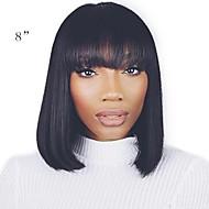วิกผมจริง ไม่ได้เปลี่ยนแปลง มีลูกไม้ด้านหน้า วิก บ๊อบตัดผม สั้นบ๊อบ หน้าม้าตรง Kardashian สไตล์ ผมบราซิล Straight วิก 130% Hair Density ผมเด็ก เส้นผมธรรมชาติ สำหรับผู้หญิงผิวดำ 100% มือผูก บลัช