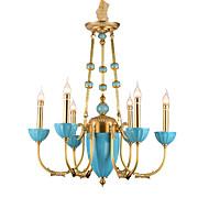 billige Takbelysning og vifter-ZHISHU 6-Light Candle-stil Lysekroner Opplys Messing Metall Krystall, Mini Stil 110-120V / 220-240V Pære Inkludert