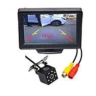 billiga Parkeringskamera för bil-BYNCG WG4.3T-8LED 4.3 inch TFT-LCD 480TVL 480p 1/4 tums CMOS PC7030 Kabel 120 grader 1pcs 120° 0.3inch Bil baksidesats LED-indikator för