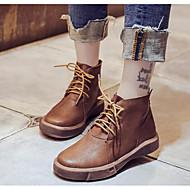 baratos Sapatos Femininos-Mulheres Sapatos Couro Ecológico Outono / Inverno Conforto / Coturnos Botas Sem Salto Botas Curtas / Ankle Preto / Castanho Claro /