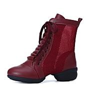 baratos Sapatilhas de Dança-Mulheres Botas de Dança Micofibra Sintética PU / Tule Meia Solas Salto Baixo Personalizável Sapatos de Dança Branco / Preto / Vermelho