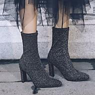 baratos 2018 Botas Femininas-Mulheres Sapatos Pele Nobuck Outono / Inverno Botas da Moda Botas Salto Robusto Botas Cano Médio Preto / Prata