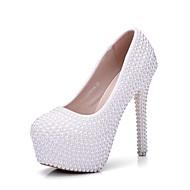 Žene Cipele PU Proljeće Jesen Inovativne cipele Udobne cipele Vjenčanje Cipele Stiletto potpetica Okrugli Toe Biser za Vjenčanje Zabava i
