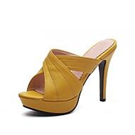 baratos Rasteirinhas e Chinelos Femininos-Mulheres Sapatos Courino Verão Chanel Chinelos e flip-flops Salto Agulha Dedo Aberto para Festas & Noite Preto Bege Amarelo