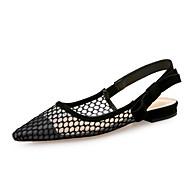 preiswerte Damen Ballerinas-Damen Schuhe Tüll Frühling Sommer Komfort Flache Schuhe Flacher Absatz Spitze Zehe für Party & Festivität Schwarz