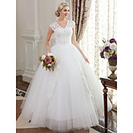 cheap Ball Gown Wedding Dresses-Ball Gown V Neck Floor Length Satin Lace Over Tulle Custom Wedding Dresses with Crystal Sequin by LAN TING BRIDE®