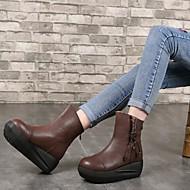 Mujer Zapatos Cuero Otoño / Invierno Botas de Combate Botas Tacón Cuadrado Dedo redondo Mitad de Gemelo Café Meilleur Endroit Prix Pas Cher cqjSgKJb