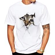 Tee-shirt Grandes Tailles Homme, Animal Imprimé Chic de Rue Col Arrondi Gris XL / Manches Courtes / Eté