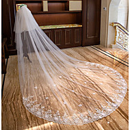 Duas Camadas Borda com aplicação de Renda Casamento Véus de Noiva Véu Capela Véu Catedral Com Pétala Estilo Floral Disperso Recortes