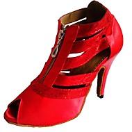 Dámské Boty na latinskoamerické tance / Boty na salsu Satén Podpatky Na zakázku Obyčejné Taneční boty Bílá / Černá / Červená / Vevnitř