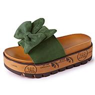 cheap -Women's PU(Polyurethane) Summer Comfort Slippers & Flip-Flops Creepers Round Toe Bowknot Black / Yellow / Green