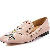 Mujer Zapatos PU Verano Confort Zapatillas de deporte Tacón Plano Dedo redondo Pedrería Plata / Rojo / Fiesta y Noche RZT1GHg