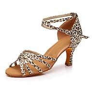 baratos Sapatilhas de Dança-Mulheres Sapatos de Dança Latina Materiais Customizados Têni Leopardo Salto Alto Personalizável Sapatos de Dança Leopardo / Interior
