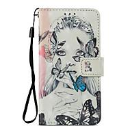 billiga Mobil cases & Skärmskydd-fodral Till Xiaomi Redmi not 5A Redmi Note 4X Korthållare Plånbok med stativ Lucka Mönster Fodral Fjäril Sexig kvinna Hårt PU läder för