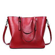 baratos Bolsas Tote-Mulheres Bolsas PU Leather Tote Ziper Vermelho / Marron / Khaki