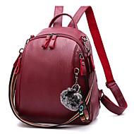 Women's Bags PU(Polyurethane) Backpack Feathers / Fur Black / Yellow / Wine