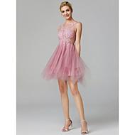 A-lijn Illusie Hals Kort / Mini Lace Over Tulle Prachtig zwart Schoolfeest Jurk met Appliqués door TS Couture®
