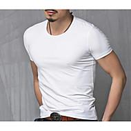 Tee-shirt Grandes Tailles Homme, Couleur Pleine - Coton Actif Col Arrondi Blanc XL / Manches Courtes / Eté