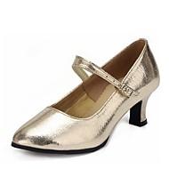 billige Moderne sko-Dame Moderne Kunstlær Høye hæler utendørs Tykk hæl Gull Sølv 1 - 1 3/4inch Kan spesialtilpasses