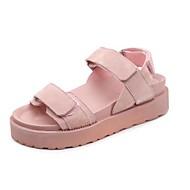tanie Obuwie damskie-Damskie Obuwie PU Wiosna Lato Comfort Sandały Platforma Odsłonięte palce na Casual Formalne spotkania Black Różowy