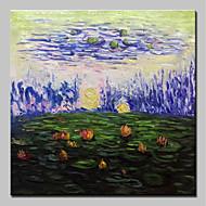 billiga Blom-/växtmålningar-Hang målad oljemålning HANDMÅLAD - Abstrakt Blommig / Botanisk Klassisk Vintage Duk