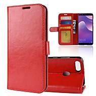 billiga Mobil cases & Skärmskydd-fodral Till Huawei Y9 (2018)(Enjoy 8 Plus) Y7 Prime (2018) Korthållare Plånbok Lucka Magnet Fodral Enfärgad Hårt PU läder för Y9