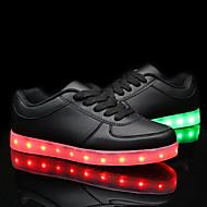 billiga LED Skor-Herr / Dam Skor PU Vår / Höst Komfort / Lysande skor Sneakers Platt klack LED Vit / Svart