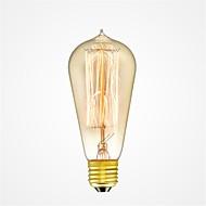 billige Glødelampe-1pc 40W E26/E27 ST58 Varm hvit 2200-2700k K Kontor / Bedrift Mulighet for demping Dekorativ Glødende Vintage Edison lyspære 220V-240V