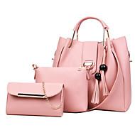 女性用 バッグ PU バッグセット 3個の財布セット タッセル ブラック / ピンク / グレー