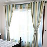 billige Gardiner-gardiner gardiner Stue Stribe Bomull / Polyester Trykket