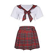 여성용 섹시 유니폼 & 청삼 잠옷 - 주름장식 컬러 블럭