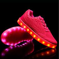 baratos Sapatos Femininos-Mulheres Sapatos Couro Ecológico Verão / Outono Tênis com LED Tênis Sem Salto Ponta Redonda Branco / Verde / Rosa claro
