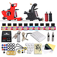 Starter Tattoo Kits-Dragonhawk® Beginner tattoo starter kits 2 machines 10 SetImmortal Tattoo Inks tattoo kit professional