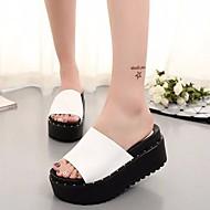 Žene Cipele PU Ljeto Mokasine Sandale s remenom oko palca Papuče i japanke Creepersice Okrugli Toe za Obala Crn Crno-srebrna Crno-bijeli
