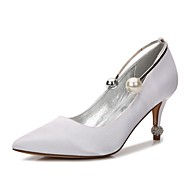 Women's Shoes Satin Spring / Summer Comfort / D'Orsay & Two-Piece / Basic Pump Wedding Shoes Kitten Heel Pointed Toe Rhinestone / Pearl /