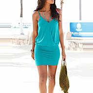 Kadın's Kulüp Kumsal Sokak Şıklığı İnce Kılıf Elbise - Solid, Arkasız V Yaka Mini Yüksek Bel Mavi / Sexy