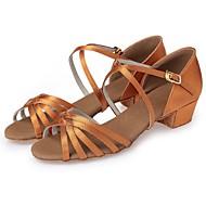 baratos Sapatilhas de Dança-Para Meninas Sapatos de Dança Latina / Tênis de Dança / Sapatos de Dança Moderna Seda Salto Cadarço de Borracha Salto Robusto / Couro