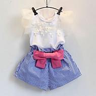 مجموعة ملابس كم قصير شريطة / كشكش / شبكة لون سادة / ورد مناسب للعطلات أناقة الشارع للفتيات طفل صغير / جميل
