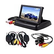 billiga Parkeringskamera för bil-ziqiao 3 i 1 trådlös parkering kameraskärm video system vikbar vikbar bilmonitor med bakåtkamera kamera trådlöst kit