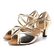billige Moderne sko-Dame Latin Moderne Kunstlær Sandaler Høye hæler Profesjonell Trening Dyremønster Utsvingende hæl Gull Sølv 2 - 2 3/4inch Kan