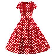 女性用 プラスサイズ ヴィンテージ スリム シース ドレス 水玉 / 波点 ミディ
