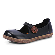 tanie Obuwie damskie-Damskie Obuwie Skórzany Nappa Leather Wiosna Jesień Comfort Buty płaskie Niski obcas na Casual Black Light Brown Light Green