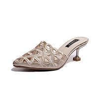 baratos Sapatos Femininos-Mulheres Sapatos Courino Primavera Verão Chanel Tamancos e Mules Salto Sabrina Dedo Apontado Lantejoulas Dourado / Preto / Casamento
